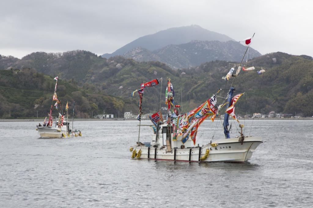 大漁旗のセレモニー
