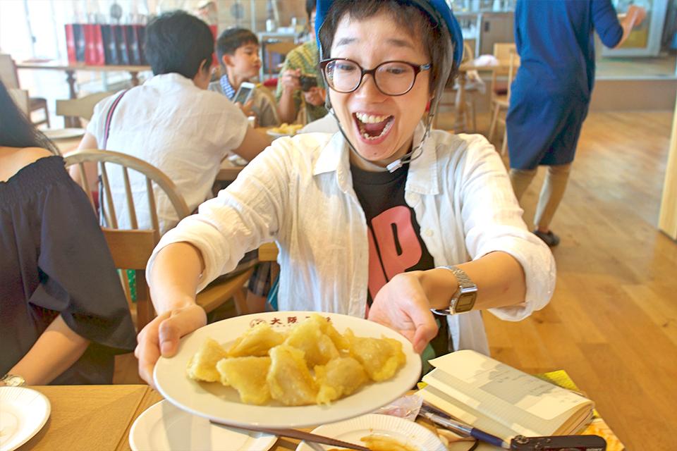 水餃子に天ぷら粉をつけて揚げる、「天ぷら餃子」も頂きました。
