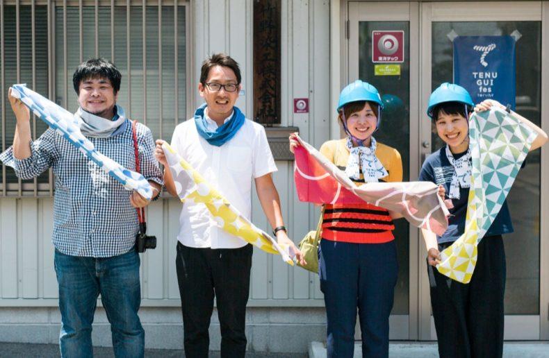 竹野染工さんの事務所前の集合写真